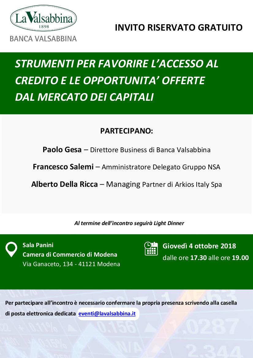 invito modena   Banca Valsabbina