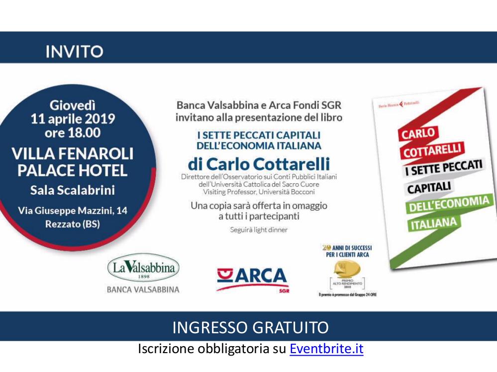 invito Carlo Cottarelli 11 aprile | Banca Valsabbina